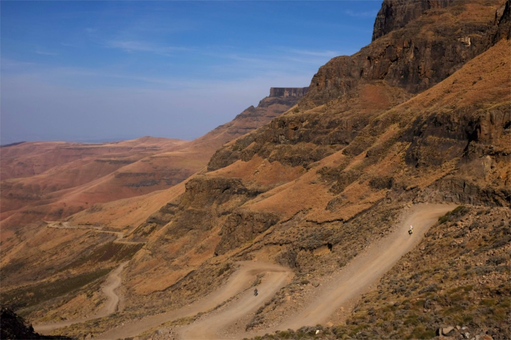 Switchbacks towards the top of Sani Pass